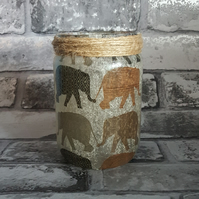 Elephant Upcycled Decor, Vase, Fairy lights. Recycled Jar Light. Pen holder
