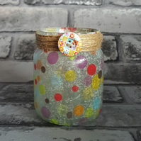 Spotty Upcycled Jar, Vase, Fairy lights. Recycled Light. Pen holder