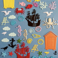 Pack of 50 sea life themed die cuts