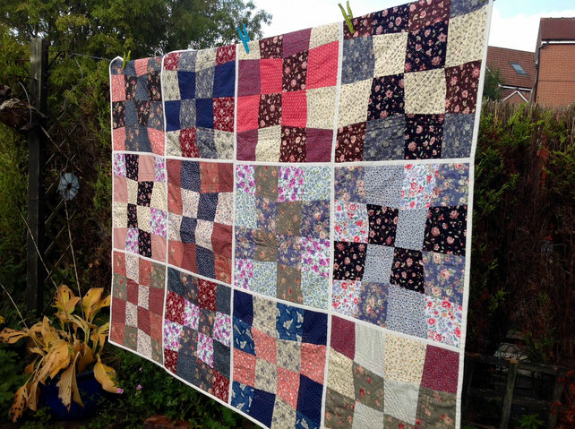 Patchwork quilt. Colourful single bed size.