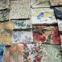 "40 x 6"" Vintage fabric patchwork bundle."