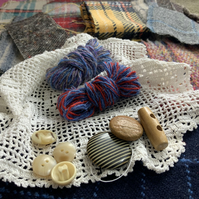 Tweed wool textile bundle for crafting