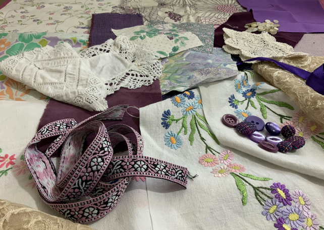 Vintage mixed fabric and trims bundle for crafting