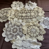 Bundle of vintage doilies for repurposing