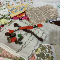 Vintage mixed textiles and trims bundle for Crafting