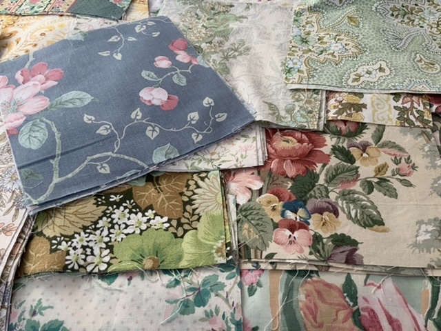 "40x10"" vintage fabric squares.  From the 1940's to 80's"