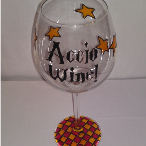 Harry Potter Themed Wine Glass Accio Wine Folksy
