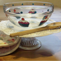 Glass Cupcake Mixing Bowl - Hand Painted
