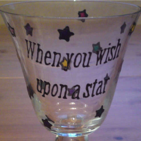 When You Wish Upon A Star - Painted Wine Glass