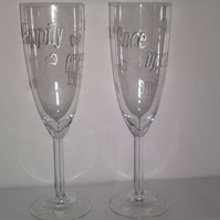 Wedding Champagne Flutes - Happily Ever After