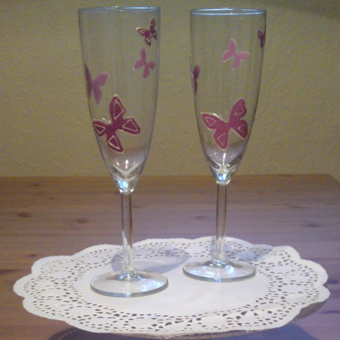 Pink Butterfly Champagne Flutes - Wedding
