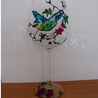 Hand Painted Blue Bird Wine Glass - Mothers Day
