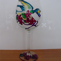 Hand Painted Blue Bird Wine Glass - Personalised