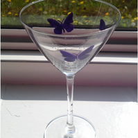 Butterfly Cocktail Glass - Personalised (Reserved)