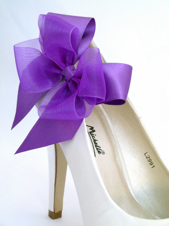 Purple Bows Shoes Clips Satin and Organza Clips for Shoes Bridal Wedding Special