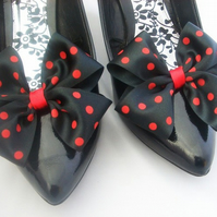 Black & Red Polka Dot Satin Bow Shoe Clips Dorothy Bow