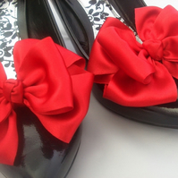 Red Satin Burlesque Bow Shoe Clips