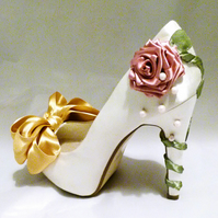 Ivory Satin Bridal Shoes Beauty and the Beast Belle Inspired Disney Wedding