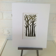 5 Trees  Original Woodcut