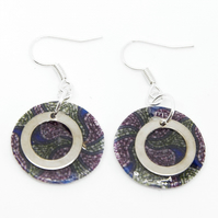 Blue and Purple African Print Earrings