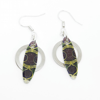 Green, Purple and Yellow African Print Earrings