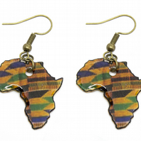 Kente Print Africa Map Earrings