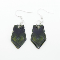Dark Blue and Green African Print Earrings