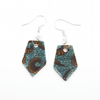 Blue and Brown African Print Earrings