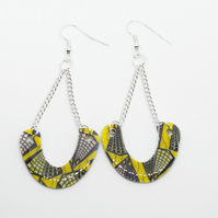Yellow and Black Statement African Print Earrings