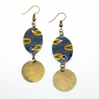 Blue, Yellow and Brass African Print Earrings