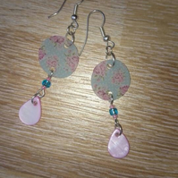 Pretty ditsy floral pink and blue drop earrings