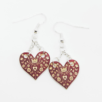 Scandinavian style Red christmas drop earrings