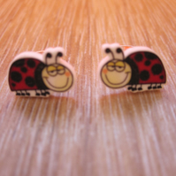 Cute Ladybird Shrink Plastic Stud Earrings