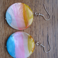 Pink, yellow and baby blue pearlised drop earrings