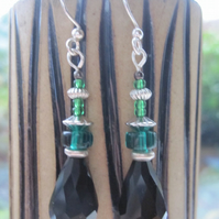 Black and green pretty glass beaded drop earrings
