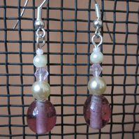 Pretty in Pink glass and pearl beaded drop earrings
