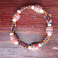 Ghanaian Beaded Stretch Bracelet - Coral multi