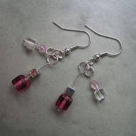 Modern cube pink glass bead drop earrings