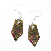 Cute Pink Ghanaian Kente Print Earrings