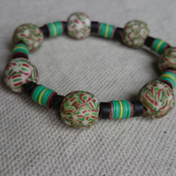 Ghanaian Beaded Stretch Bracelet - green and brown