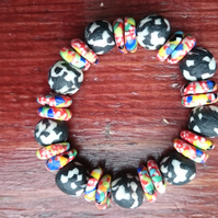Ghanaian Beaded Stretch Bracelet - Black White multi