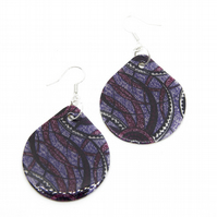 Purple Swirl African Fabric Print Earrings