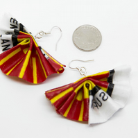 Eye Catching African Wax Fabric Fan Statement Earrings