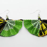 Eye Catching African Fabric Fan Statement Earrings