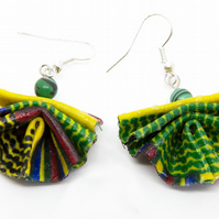 Mini African Fabric Fan Statement Earrings