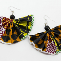 Large African Fabric Fan Statement Earrings