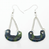 Blue and Green Pretty African Fabric Print Earrings