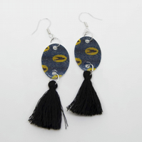 Blue and Yellow African Print Earrings with Tassle