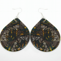 Large African Fabric Print Statement Earrings