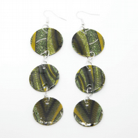 Green Tier Fabulous African Fabric Print Earrings